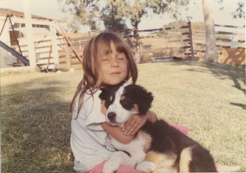 Daddy's girl with one of our Australian Shepherd pups