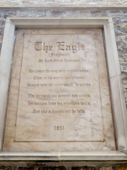 Strange but true: this poem is on the hotel that replaced The Scumbird Lodge, right around the corner from The Eagle's former roost.