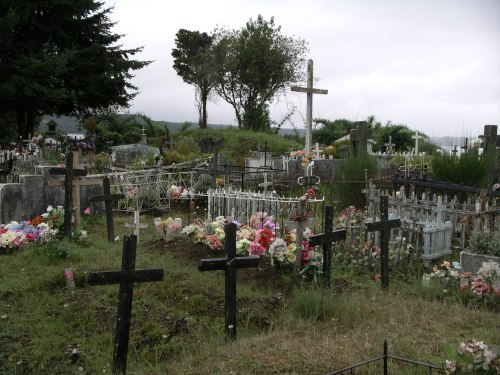 A seaside cemetery on the island of Chiloe, Chile
